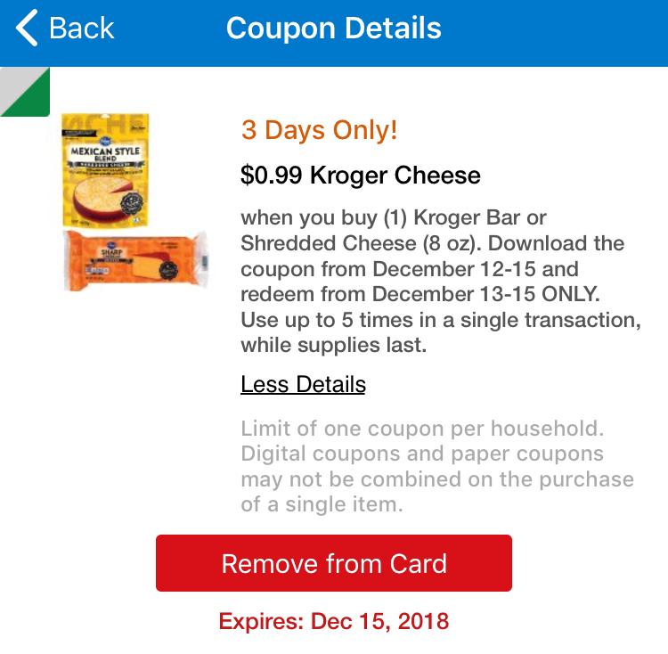 Screenshot of Kroger Cheese Deal