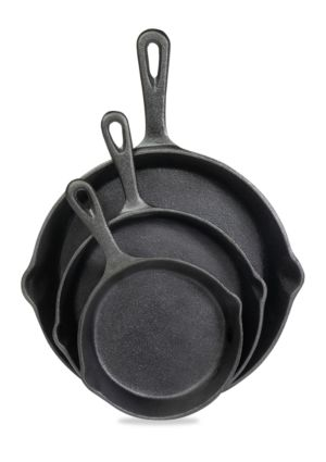 3 piece cast iron skillet set