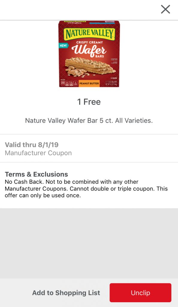 Nature Valley Wafer Bars mPerk coupon