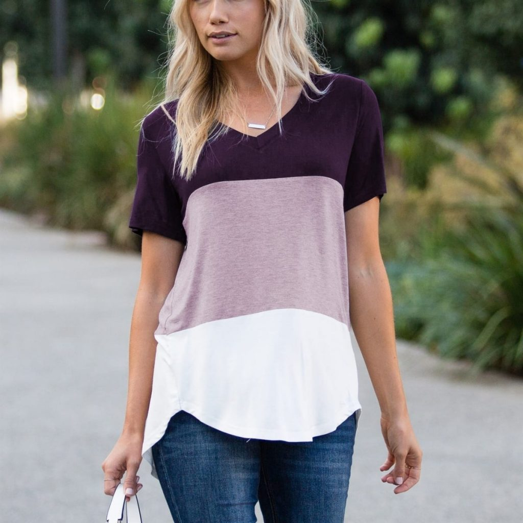 V-Neck Color Block Tee