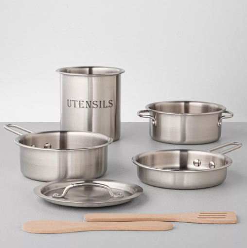 7 pack Stainless Steel Cookware Toy Set