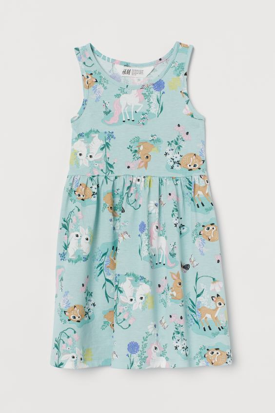 Patterned Jersey Dress with Unicorns