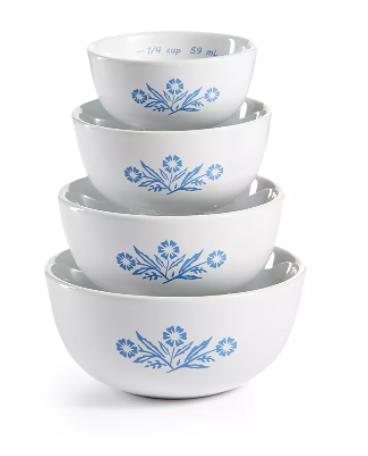 Corningware Cornflower 4 Piece Measuring Bowl Set